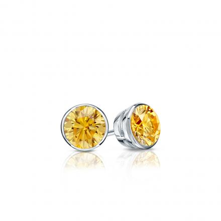 Certified 14k White Gold Bezel Round Yellow Diamond Stud Earrings 0.25 ct. tw. (Yellow, SI1-SI2)