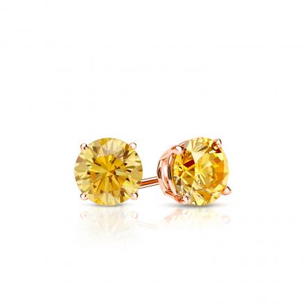 Certified 14k Rose  Gold 4-Prong Basket Round Yellow Diamond Stud Earrings 0.33 ct. tw. (Yellow, SI1-SI2)