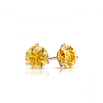 Certified 14k Rose Gold 3-Prong Martini Round Yellow Diamond Stud Earrings 0.33 ct. tw. (Yellow, SI1-SI2)