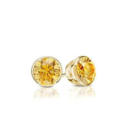 Certified 14k Yellow Gold Bezel Round Yellow Diamond Stud Earrings 0.33 ct. tw. (Yellow, SI1-SI2)