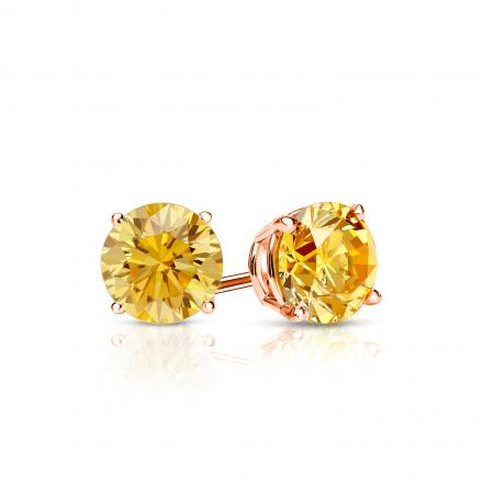 Certified 14k Rose  Gold 4-Prong Basket Round Yellow Diamond Stud Earrings 0.50 ct. tw. (Yellow, SI1-SI2)