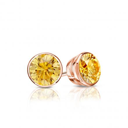 Certified 14k Rose Gold Bezel Round Yellow Diamond Stud Earrings 0.50 ct. tw. (Yellow, SI1-SI2)