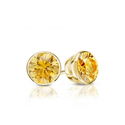 Certified 14k Yellow Gold Bezel Round Yellow Diamond Stud Earrings 0.50 ct. tw. (Yellow, SI1-SI2)