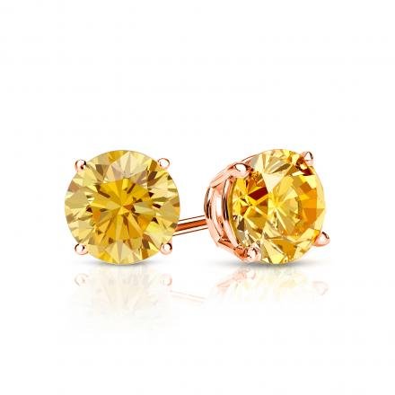 Certified 14k Rose  Gold 4-Prong Basket Round Yellow Diamond Stud Earrings 0.75 ct. tw. (Yellow, SI1-SI2)