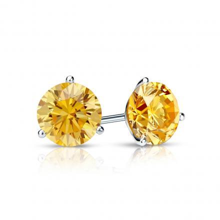 Certified Platinum 3-Prong Martini Round Yellow Diamond Stud Earrings 0.75 ct. tw. (Yellow, SI1-SI2)