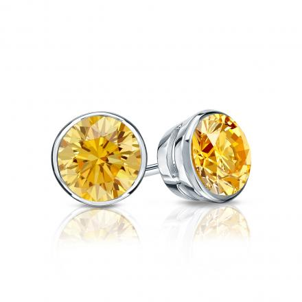 Certified 14k White Gold Bezel Round Yellow Diamond Stud Earrings 0.75 ct. tw. (Yellow, SI1-SI2)