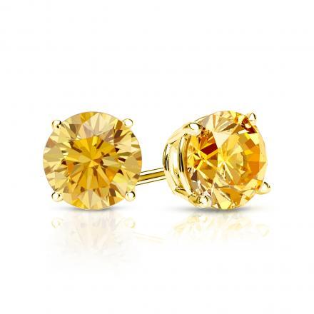 Certified 18k Yellow Gold 4-Prong Basket Round Yellow Diamond Stud Earrings 1.00 ct. tw. (Yellow, SI1-SI2)