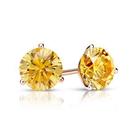 Certified 14k Rose Gold 3-Prong Martini Round Yellow Diamond Stud Earrings 1.00 ct. tw. (Yellow, SI1-SI2)