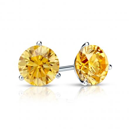 Certified Platinum 3-Prong Martini Round Yellow Diamond Stud Earrings 1.00 ct. tw. (Yellow, SI1-SI2)
