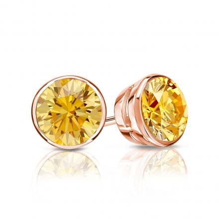 Certified 14k Rose Gold Bezel Round Yellow Diamond Stud Earrings 1.00 ct. tw. (Yellow, SI1-SI2)