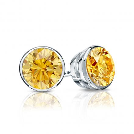 Certified 18k White Gold Bezel Round Yellow Diamond Stud Earrings 1.00 ct. tw. (Yellow, SI1-SI2)