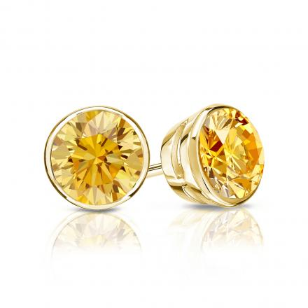 Certified 18k Yellow Gold Bezel Round Yellow Diamond Stud Earrings 1.00 ct. tw. (Yellow, SI1-SI2)
