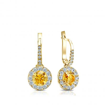 Certified 18k Yellow Gold Dangle Studs Halo Round Yellow Diamond Earrings 1.00 ct. tw. (Yellow, SI1-SI2)