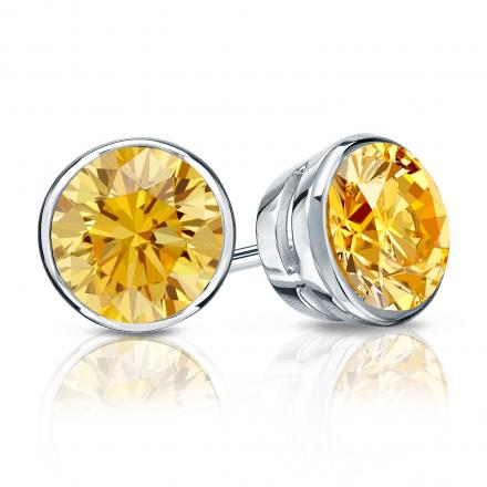 Certified Platinum Bezel Round Yellow Diamond Stud Earrings 1.50 ct. tw. (Yellow, SI1-SI2)