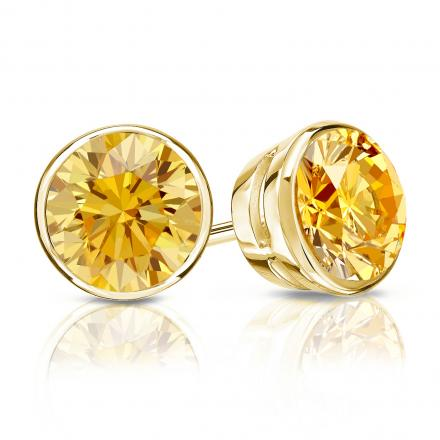 Certified 18k Yellow Gold Bezel Round Yellow Diamond Stud Earrings 1.50 ct. tw. (Yellow, SI1-SI2)
