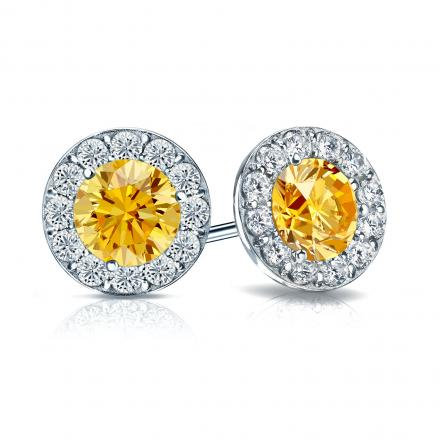 Certified 18k White Gold Halo Round Yellow Diamond Stud Earrings 2.50 ct. tw. (Yellow, SI1-SI2)