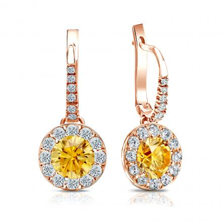 Certified 14k Rose Gold Dangle Studs Halo Round Yellow Diamond Earrings 2.50 ct. tw. (Yellow, SI1-SI2)