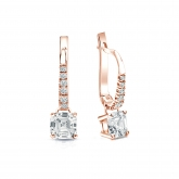 Certified 14k Rose Gold Dangle Studs 4-Prong Basket Asscher Cut Diamond Earrings 1.00 ct. tw. (H-I, SI1-SI2)