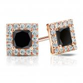 Certified 14k Rose Gold Halo Princess-Cut Black Diamond Stud Earrings 3.00 ct. tw.