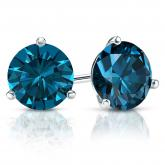 Certified 14k White Gold 3-Prong Martini Round Blue Diamond Stud Earrings 2.00 ct. tw. (Blue, SI1-SI2)