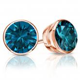 Certified 14k Rose Gold Bezel Round Blue Diamond Stud Earrings 2.50 ct. tw. (Blue, SI1-SI2)