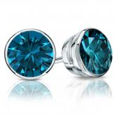 Certified Platinum Bezel Round Blue Diamond Stud Earrings 2.50 ct. tw. (Blue, SI1-SI2)