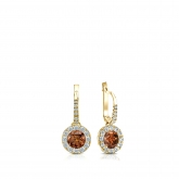 Certified 18k Yellow Gold Dangle Studs Halo Round Brown Diamond Earrings 0.50 ct. tw. (Brown, SI1-SI2)