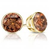 Certified 18k Yellow Gold Bezel Round Brown Diamond Stud Earrings 2.00 ct. tw. (Brown, SI1-SI2)