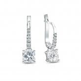Certified Platinum Dangle Studs 4-Prong Basket Cushion Cut Diamond Earrings 1.00 ct. tw. (G-H, VS1-VS2)