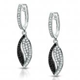 14k White Gold Black & White Round Cut Diamond Earrings 0.50 ct. tw. (G-H, I1-I2)