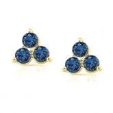 14k Yellow Gold 3-Stone Blue Round-Cut Diamond Earrings 0.50 ct. tw. (SI1-SI2)