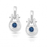 14k White Gold Blue Round-Cut Diamond in a Bezel Setting Earrings 0.15 ct. tw. (SI1-SI2)