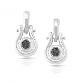 14k White Gold Black Round-Cut Diamond in a Bezel Setting Earrings 0.15 ct. tw.