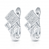 14k White Gold Princess and Baguette-cut Diamond Earrings 1.00 ct. tw. (H-I, SI1-SI2)
