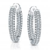 14k White Gold Small Micro Pave Round Diamond Hoop Earrings 1.00 ct. tw. (H-I, SI1-SI2), 0.75-inch (19.1mm)