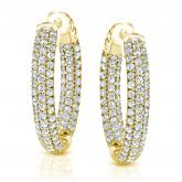 14k Yellow Gold Large Micro Pave Round Diamond Hoop Earrings 3.50 ct. tw (H-I, SI1-SI2), 2-inch (50.8mm)