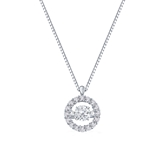 14K White Gold 1/2ct tw. Circle Halo Dancing Stone Diamond Pendant