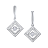 Royal Princess-Cut Dancing Stone Diamond Earrings
