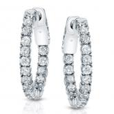 Certified 14K Small Gold Small Round Diamond Hoop Earrings 1.00 ct. tw. (H-I, SI1-SI2), 0.74-inch (19mm)