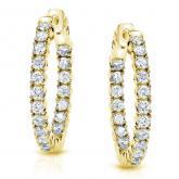 Certified 14K Yellow Gold Medium Round Diamond Hoop Earrings 5.25 ct. tw. (J-K, I1-I2), 1.25 inch