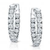 Certified 14K White Gold Medium Round Diamond Hoop Earrings 3.00 ct. tw. (J-K, I1-I2), 0.75 inch