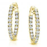 Certified 14K Yellow Gold Small Round Diamond Hoop Earrings 1.00 ct. tw. (H-I, SI1-SI2),0.75-inch (20mm)