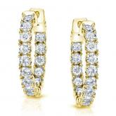 Certified 14K Yellow Gold Medium Round Diamond Hoop Earring 3.00 ct. tw. (J-K, I1-I2), 0.86-inch (22mm)