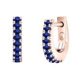 Certified 14k Rose Gold Round-cut Blue Sapphire Gemstone Hoop Earrings 0.21 ct. tw.