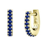 Certified 14k Yellow Gold Round-cut Blue Sapphire Gemstone Hoop Earrings 0.21 ct. tw.