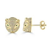 Certified 14k Yellow Gold Round-cut Emerald and Diamond Fashion Earrings 0.48 cttw