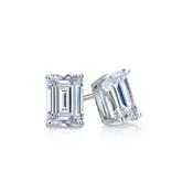 Certified 14k White Gold 4-Prong Basket Emerald Cut Diamond Stud Earrings 0.50 ct. tw. (G-H, VS1-VS2)