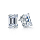 Certified 18k White Gold 4-Prong Basket Emerald Cut Diamond Stud Earrings 0.75 ct. tw. (I-J, I1-I2)
