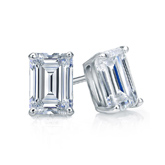 Certified 18k White Gold 4-Prong Basket Emerald Cut Diamond Stud Earrings 1.00 ct. tw. (I-J, I1-I2)