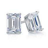 Certified 18k White Gold 4-Prong Basket Emerald Cut Diamond Stud Earrings 1.50 ct. tw. (I-J, I1-I2)
